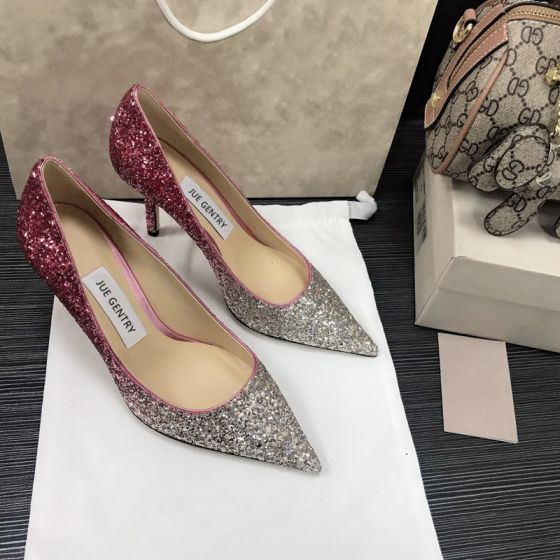 Glitzernden Silber Violett Farbverlauf Abend Pumps Leder 2021 Pailletten 8 cm Stilettos Spitzschuh Pumps Hochhackige