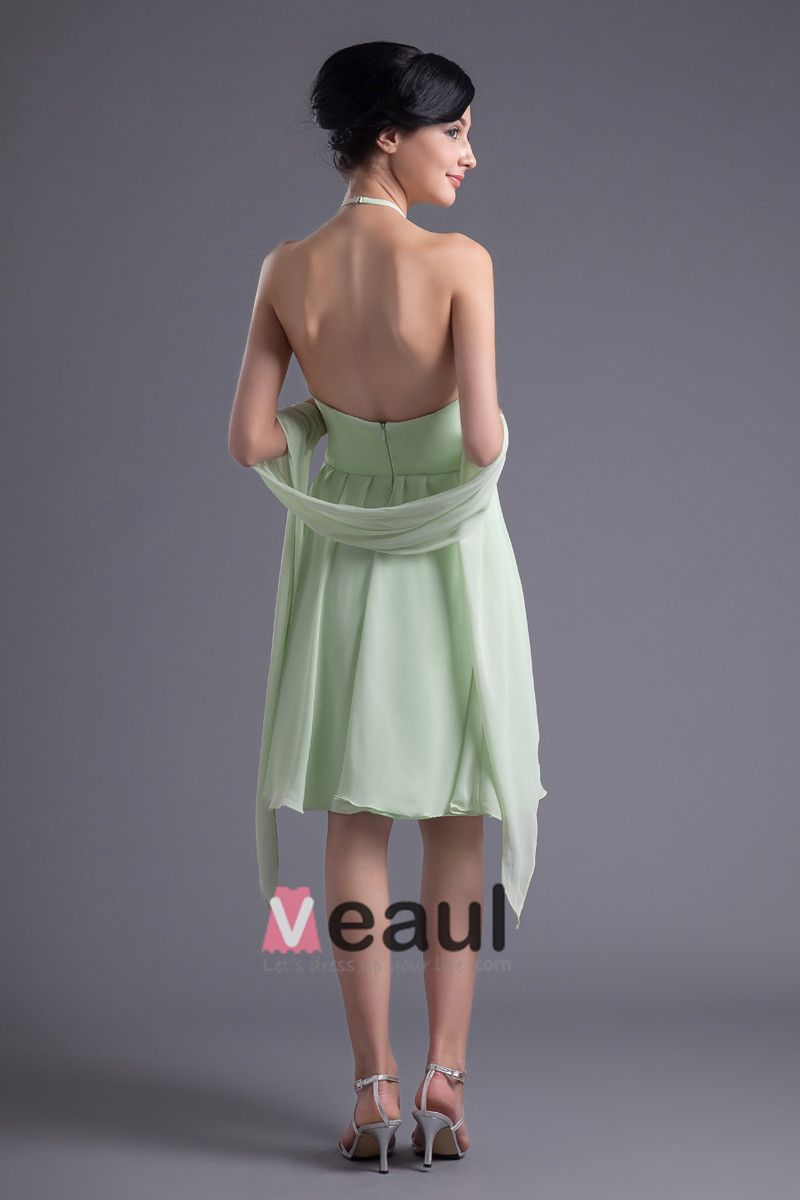 Fashion Chiffon Pleated Halter Knee Length Bridesmaid Dress
