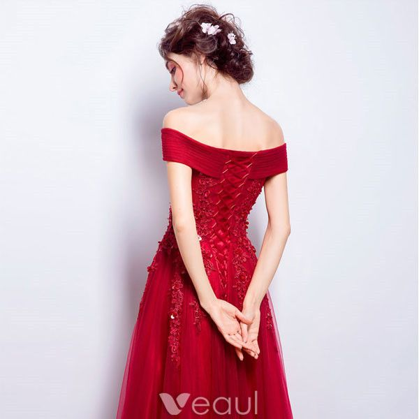 Beautiful Long Evening Dress Red Tulle Off The Shoulder Dress With Lace