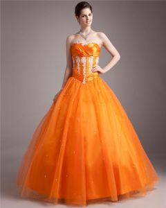 Ball Gown Tulle Beading Pleated Sweetheart Floor Length Quinceanera Prom Dresses