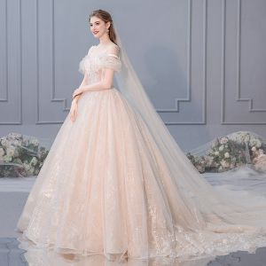 Luxury / Gorgeous Champagne Wedding Dresses 2019 A-Line / Princess Sleeveless Beading Tassel Lace Flower Sequins Spaghetti Straps Royal Train