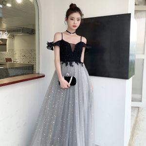 Mode Grau Star Pailletten Abendkleider 2020 A Linie Spaghettiträger Spitze Blumen Ärmellos Rückenfreies Lange Festliche Kleider