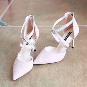 Chic / Beautiful Candy Pink 2018 High Heels X-Strap Beading Evening Party 8 cm Rhinestone Office Pumps Pointed Toe Stiletto Heels Womens Shoes