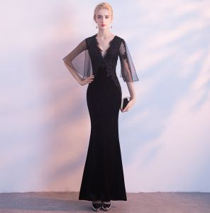 Sexy Black Suede Evening Dresses  2018 Trumpet / Mermaid V-Neck 1/2 Sleeves Appliques Lace Floor-Length / Long Backless Formal Dresses