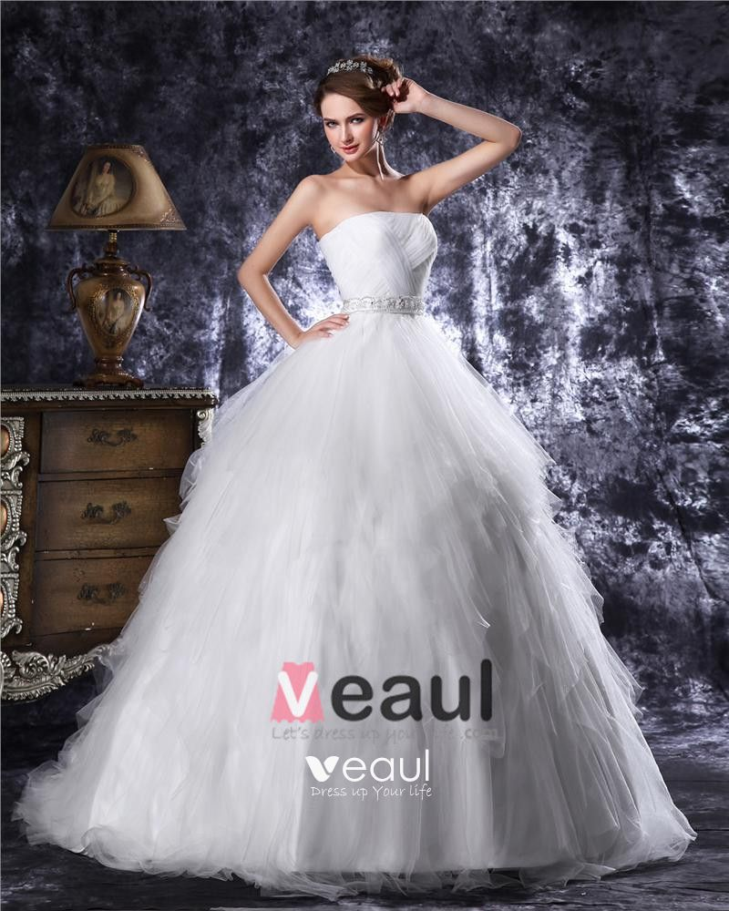 Strapless Floor Length Beading Pleated Tulle Ball Gown Wedding Dress
