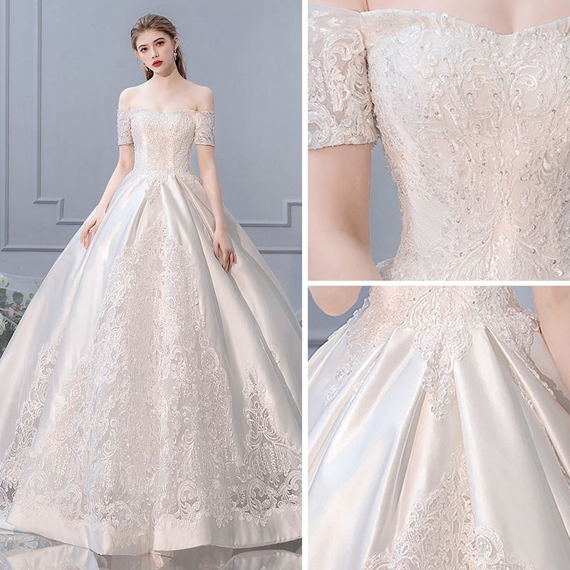 Luxury / Gorgeous Ivory Pierced Wedding Dresses 2019 A-Line / Princess Off-The-Shoulder Beading Sequins Lace Flower Short Sleeve Backless Royal Train