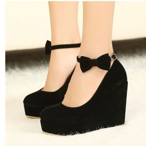 Modest / Simple Black Casual Womens Shoes 2018 Suede Round Toe 10 cm Wedges