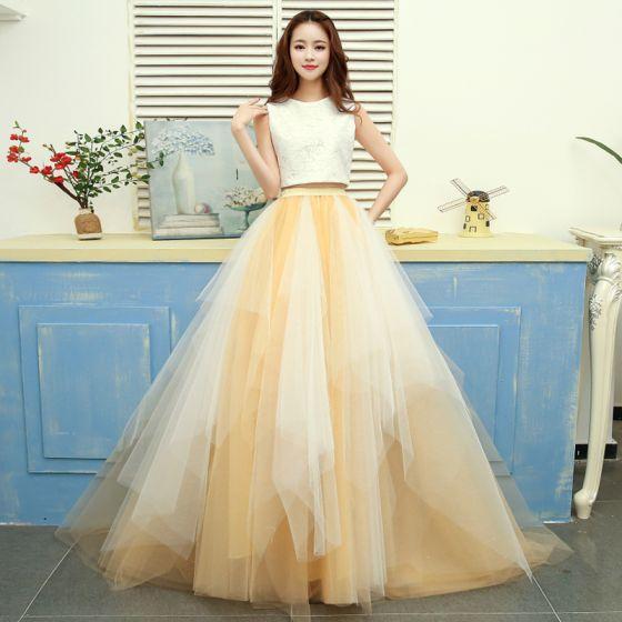 77eb5df53 2 Piezas Oro Vestidos de gala 2017 A-Line   Princess U-escote Tul Sin Mangas  Bordado ...