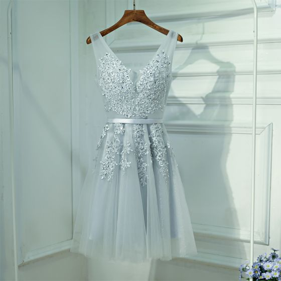 Chic / Beautiful Silver Wedding Party Dresses 2017 Lace Flower Strappy Sleeveless V-Neck Backless A-Line / Princess Short Bridesmaid Dresses