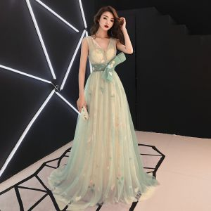 Flower Fairy Sage Green See-through Evening Dresses  2019 A-Line / Princess V-Neck Sleeveless Appliques Lace Bow Sash Sweep Train Ruffle Backless Formal Dresses