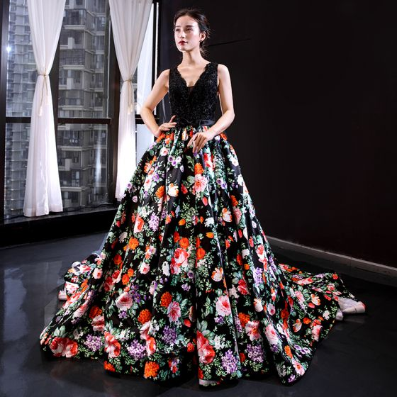 Flower Fairy Black Floral Evening Dresses  2020 A-Line / Princess Deep V-Neck Sleeveless Appliques Lace Beading Pearl Bow Sash Printing Satin Court Train Ruffle Backless Formal Dresses