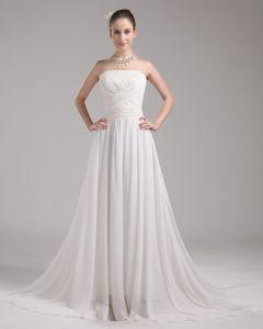 Mode Charmeuse Mousseline De Soie Perles Longueur De Plancher Robe De Mariée Empire Bretelles