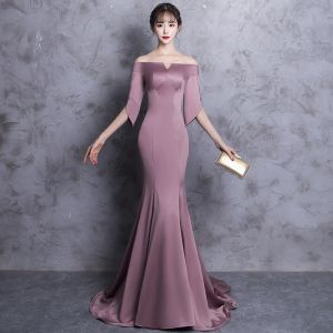 Chic / Beautiful Evening Dresses  2018 Trumpet / Mermaid Off-The-Shoulder Backless 1/2 Sleeves Sweep Train Formal Dresses