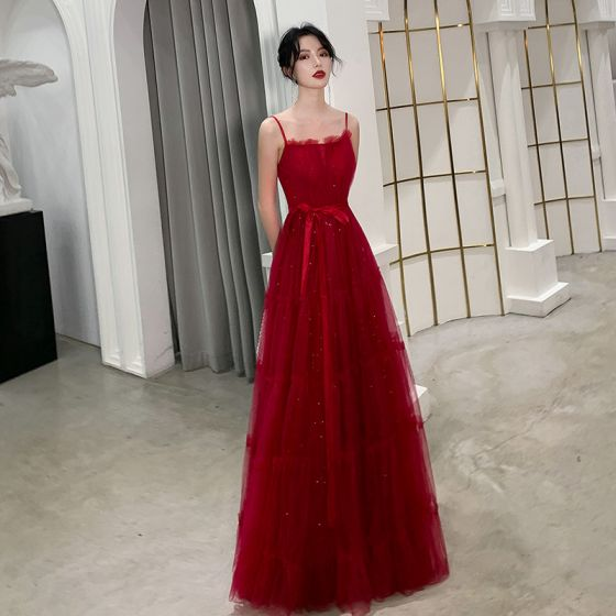 Chic / Beautiful Burgundy Summer Evening Dresses  2019 A-Line / Princess Spaghetti Straps Sleeveless Glitter Tulle Sash Floor-Length / Long Ruffle Backless Formal Dresses