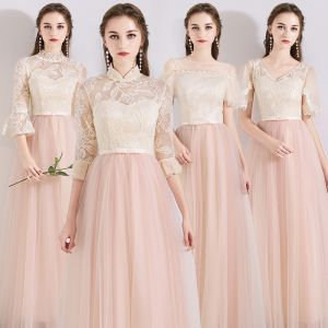 Chic / Beautiful Pearl Pink See-through Bridesmaid Dresses 2019 A-Line / Princess Appliques Lace Bow Sash Floor-Length / Long Ruffle Backless Wedding Party Dresses