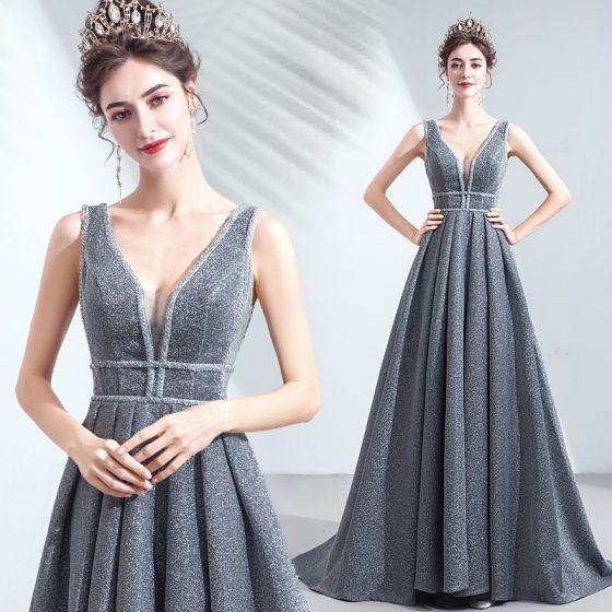Charming Silver Grey Evening Dresses  2019 A-Line / Princess V-Neck Sequins Sleeveless Backless Floor-Length / Long Formal Dresses