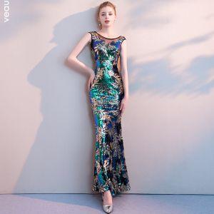 Farbig Multifarben Pailletten Abendkleider 2018 Mermaid Rundhalsausschnitt Ärmellos Durchsichtige Rückenfreies Lange Festliche Kleider