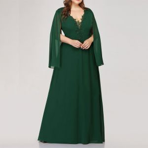 Chic / Beautiful Green Plus Size Evening Dresses  2020 A-Line / Princess V-Neck Tulle Floor-Length / Long Long Sleeve Handmade  3D Lace Solid Color Evening Party Summer Formal Dresses