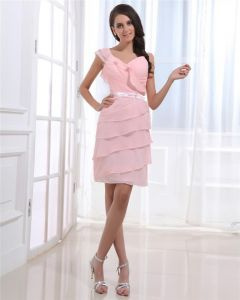 Kochanie Warstwowy Długosc Rekawow Zamek Mini Kobieta Plisowany Szyfon Tanie Sukienki Koktajlowe Sukienki Wizytowe