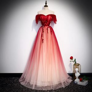 Chic / Beautiful Red Evening Dresses  2020 A-Line / Princess Off-The-Shoulder Short Sleeve Beading Floor-Length / Long Backless Formal Dresses