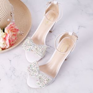 Amazing / Unique White Beach Office Beading Strappy Rhinestone Womens Sandals 2018