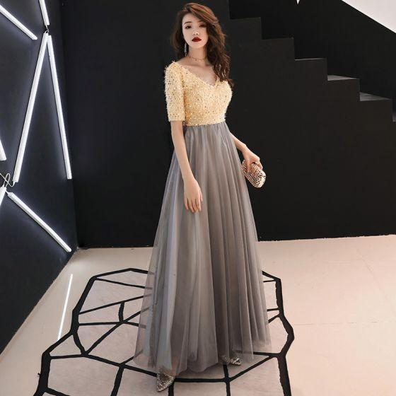 Mode Champagne Selskabskjoler 2019 Prinsesse V-Hals Tassel Pailletter 1/2 De Las Mangas Halterneck Lange Kjoler