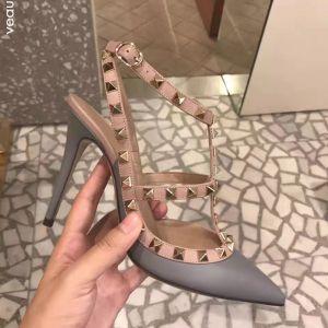 Mode Grau Strassenmode Niet Sandalen Damen 2020 Leder 10 cm Stilettos Spitzschuh Sandaletten
