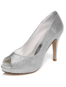 Sparkly Wedding Shoes With Glitter High Heel Silver Bridal Shoes Pumps Stiletto Heel