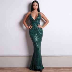 Sexy Dark Green Sequins Evening Dresses  2020 Trumpet / Mermaid Spaghetti Straps Sleeveless Formal Dresses Ruffle Backless Sweep Train