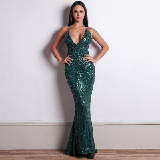 Sexy Dark Green Sequins Evening Dresses  2020 Trumpet / Mermaid Spaghetti Straps Sleeveless Formal Dresses Ruffle Backless Sweep Train
