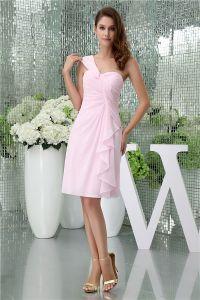 Simples A-ligne Une Épaule Robe De Cocktail Rose