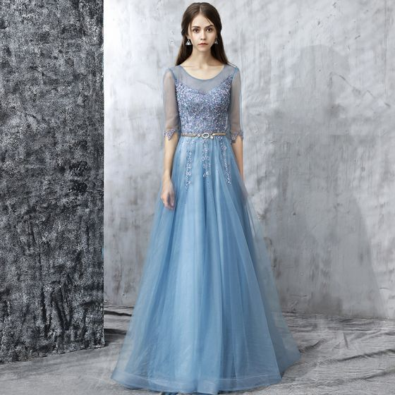 Modern / Fashion Sky Blue Prom Dresses 2017 A-Line / Princess Floor-Length / Long Scoop Neck 1/2 Sleeves Backless Appliques Flower Pearl Rhinestone Beading Sequins Metal Sash Pierced Formal Dresses