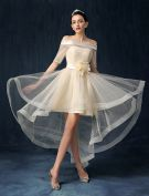 Beautiful Champagne Cocktail Dress Off The Shoulder Asymmetrical Party Dress With Sash Flowers