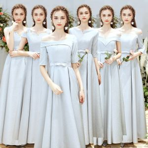 Schöne Silber Brautjungfernkleider 2019 A Linie Schleife Stoffgürtel Lange Rüschen Rückenfreies Kleider Für Hochzeit