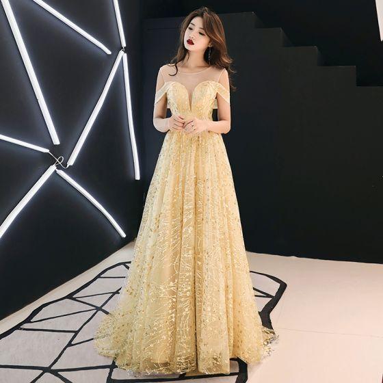 bdcfaac0c4e8 Moda Oro Transparentes Vestidos de noche 2019 A-Line / Princess Scoop  Escote Manga Corta Glitter Tul Colas De Barrido Ruffle Sin Espalda Vestidos  ...