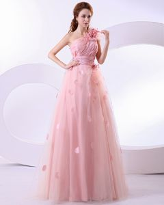 Satin Flower One Shoulder A Line Prom Dresses