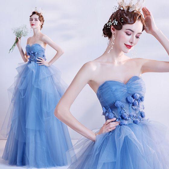 Eleganckie Ciemnoniebieski Taniec Sukienki Na Bal 2020 Suknia Balowa Kochanie Bez Rękawów Aplikacje Kwiat Frezowanie Długie Wzburzyć Bez Pleców Sukienki Wizytowe