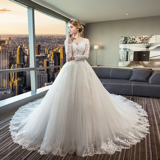 651d94643b Hermoso Marfil Transparentes Vestidos De Novia 2018 Ball Gown V-Cuello Manga  Larga Sin Espalda Apliques Con Encaje ...