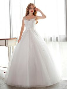 Robe De Mariée Blanche Robe De Bal Robe De Mariée Fleur Brillant Avec Strass Et De Paillettes