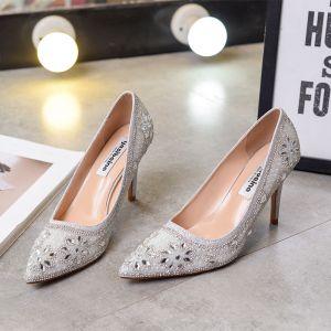 Classy Silver Wedding Shoes 2020 Rhinestone Sequins 9 cm Stiletto Heels Pointed Toe Wedding Pumps