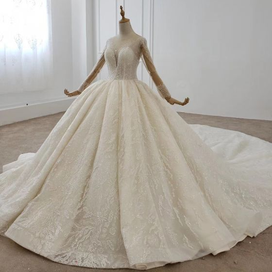 Modern / Fashion White Ball Gown Wedding Dresses 2020 Long Sleeve U-Neck Tulle 3D Lace Backless Beading Crystal Pearl Sequins Cathedral Train Wedding