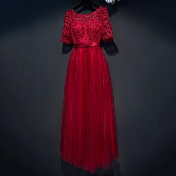 Hermoso Rojo Vestidos Formales 2017 A-Line / Princess De Encaje Flor De Tiras Scoop Escote 1/2 Ærmer La altura del tobillo Vestidos de noche