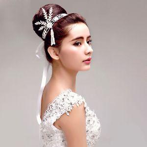 Rhinestone Perle Blad Brude Hovedklæde Bryllup Hår Tilbehør