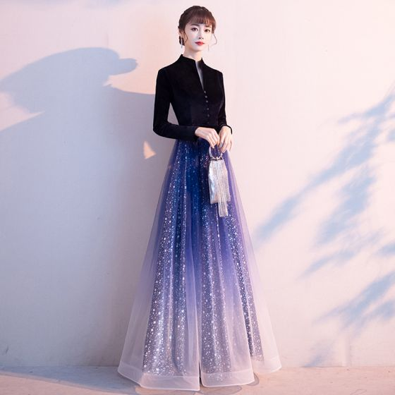 Sparkly Ocean Blue Gradient-Color Starry Sky Evening Dresses  2020 A-Line / Princess Chinese style Suede V-Neck Star Sequins Long Sleeve Floor-Length / Long Formal Dresses