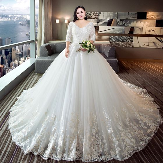 Chic Beautiful White Ball Gown Plus Size Wedding Dresses 2019 Tulle V Neck Liques Backless Embroidered Handmade Chapel Train 560x560 Jpg