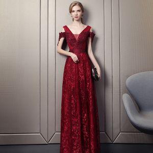 Sexy Bordeaux Robe De Soirée 2018 Princesse V-Cou Bustier Manches Courtes Étoile Appliques En Dentelle Glitter Faux Diamant Longue Volants Dos Nu Robe De Ceremonie
