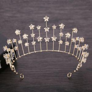 Hermoso Oro Tocados de novia 2019 Metal Estrella Crystal Tiara Boda Accesorios