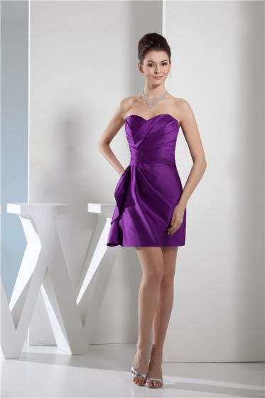 2015 Chic Sweetheart Strapless Ruffles Mini Short Purple Cocktail Dresses