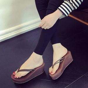 Remise Marron Été Plage Sandales Femme 2018 Daim 6 cm Compensées Plateforme Peep Toes / Bout Ouvert Sandales
