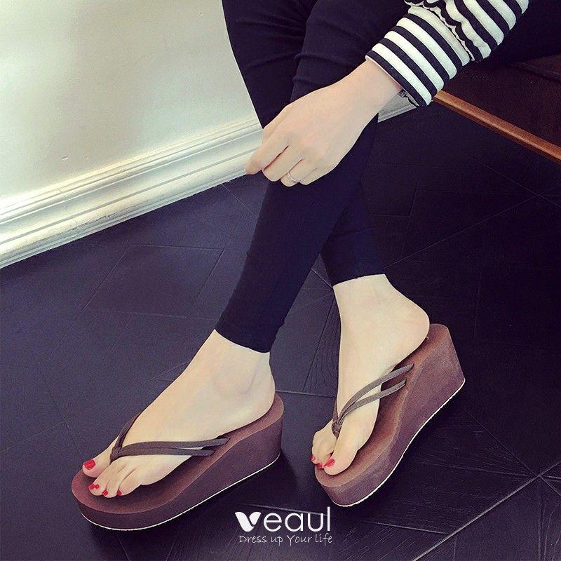 ec62883b3acc Remise Marron Été Plage Sandales Femme 2018 Daim 6 cm Compensées Plateforme  Peep Toes / Bout Ouvert Sandales
